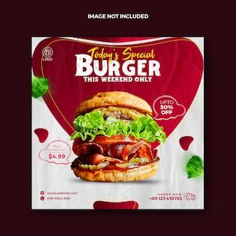 Food social media post für instagram und squire burger werbe-webbanner