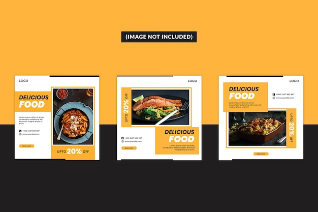 Food social media post template set