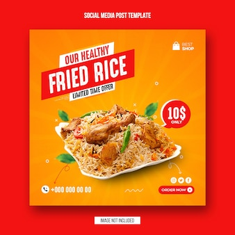Food social media post und instagram banner design-vorlage