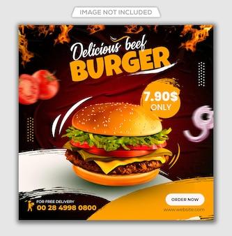 Food-social-media-post und instagram-banner-vorlagendesign premiom psd