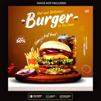 Food social media post vorlage für restaurant fastfood burger