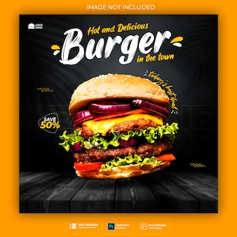 Food social media promotion und banner post design vorlage