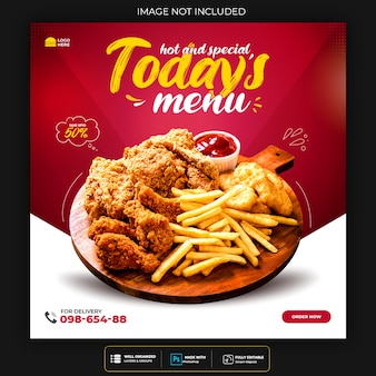 Food social media promotion und instagram banner post design