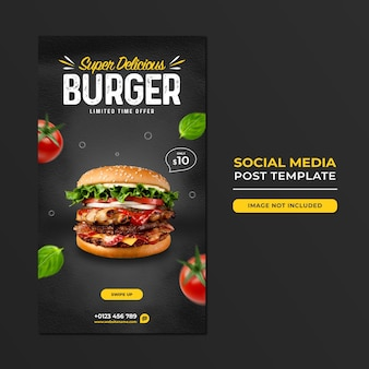 Food social media promotion und instagram story post design vorlage