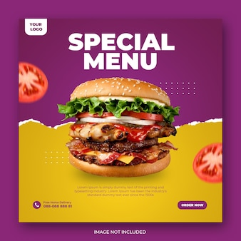 Food social media werbung und instagram banner post design vorlage