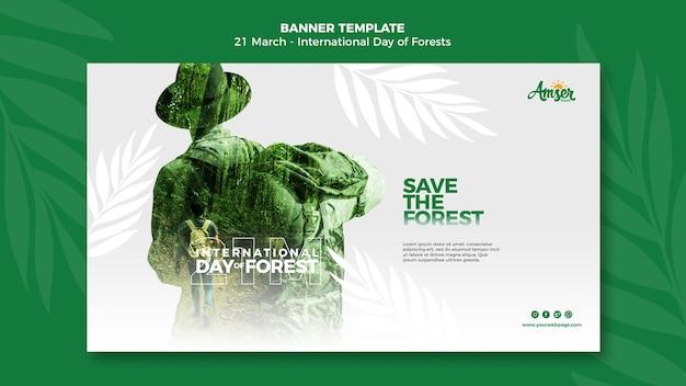Forests day banner vorlage mit foto