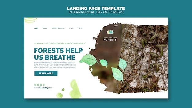 Forests day landing page vorlage mit foto