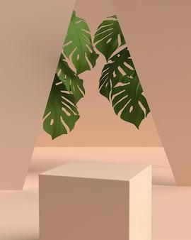 Formpodest der abstrakten 3d-szenengeometrie für die produktanzeige