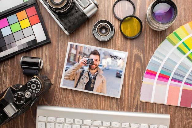 Fotografen-workshop mit foto-mock-up-sortiment