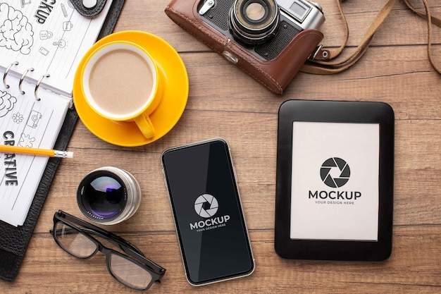 Fotografen-workshop mit mock-up-tablet und foto