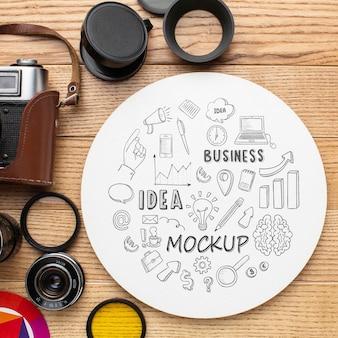 Fotografenworkshop mit rundem mock-up