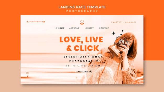 Fotografie landing page vorlage