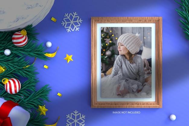 Fotomodell mit 3d-render-weihnachtshintergrund