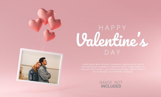 Fotorahmen, der mit liebes-herz-ballon-modell-schablone fliegt happy valentine banner