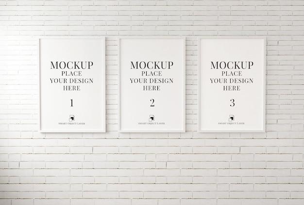 Fotorahmen für modell auf weißer backsteinmauer 3d-illustration