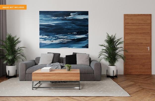 Fotorahmen für modell im 3d-rendering des wohnzimmers
