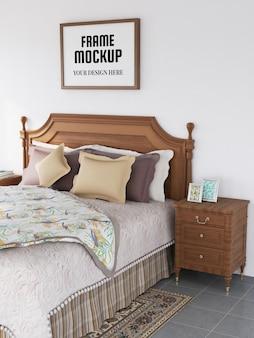 Fotorahmen-modell realistisch im klassischen schlafzimmer