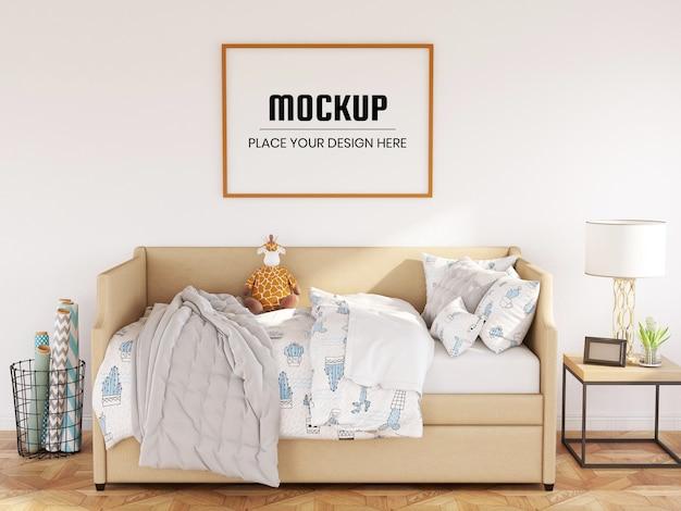 Fotorahmen-modell realistisch im schlafzimmer