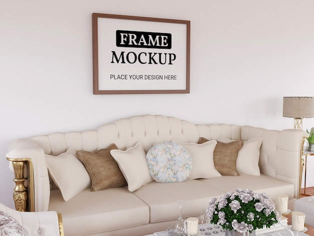 Fotorahmen-modell realistisch im wohnzimmer