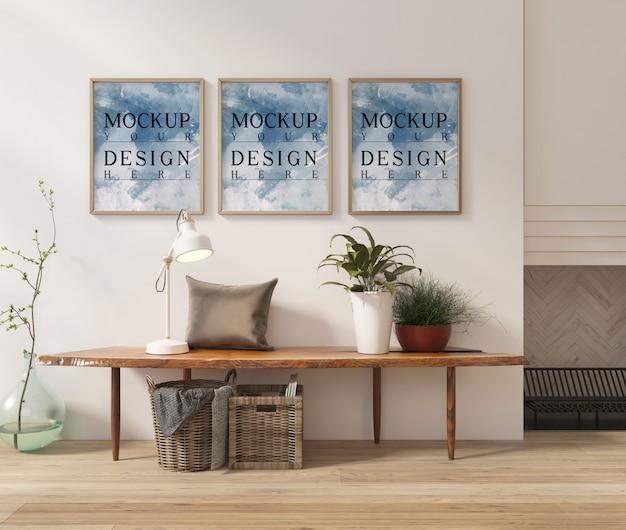Fotorahmenmodell im modernen innenraum mit dekoration