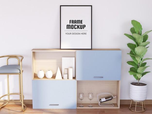 Fotorahmenmodell im modernen wohnzimmer