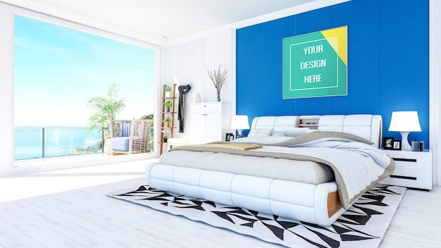 Fotorahmenmodell im weißen modernen zeitgenössischen schlafzimmerinnenraum mit meerblick-terrasse