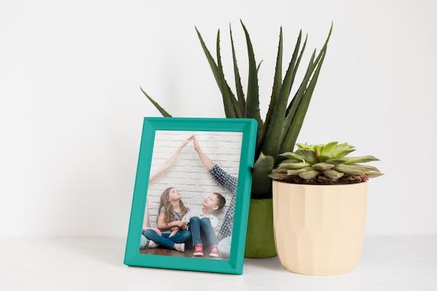 Frame-modell neben einer pflanze