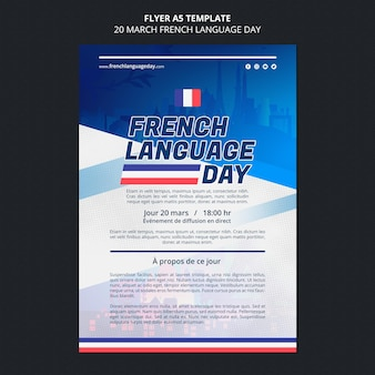 Französisch sprache tag flyer vorlage