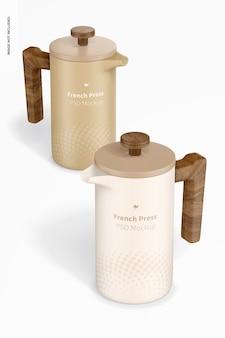 Französische pressen kaffeemaschine mockup