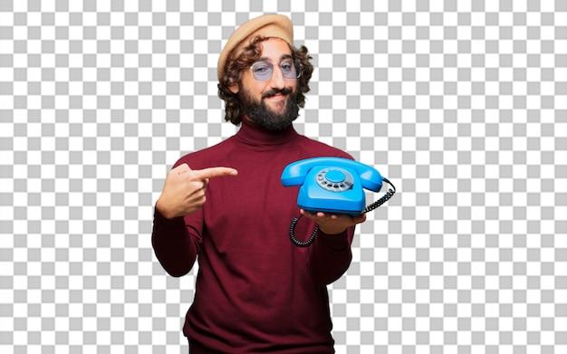 Französischer künstler mit barett mit vintage telefon