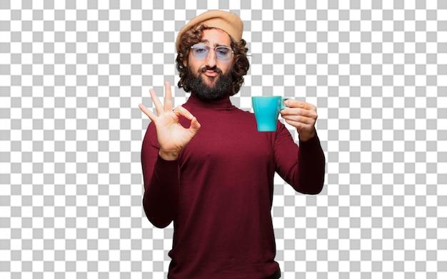 Französischer künstler mit einem barett, das einen kaffee hält