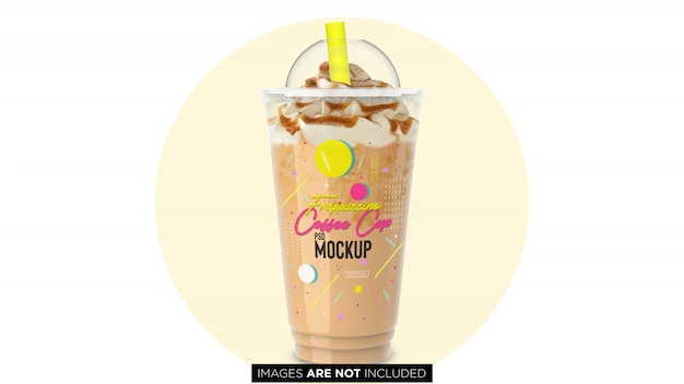 Frappuccino-plastikbehälter-schale mit rohr psd-modell