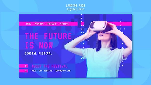 Frau, die eine landingpage des virtual-reality-headsets verwendet