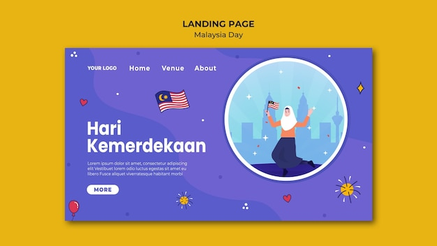Frau, die flagge malaysia-tageslandungsseitenschablone hält
