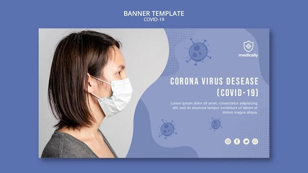 Frau, die maske covid-19 fahnenschablone trägt