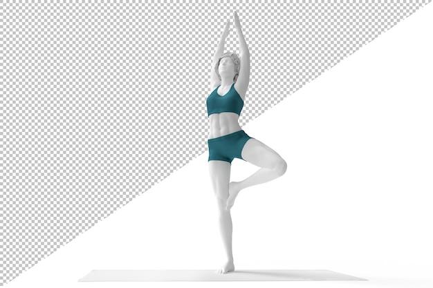 Frau in der baumhaltung während der yoga-praxis