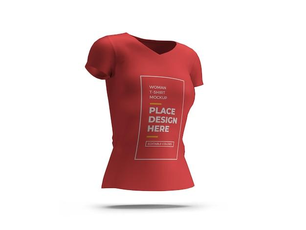 Frau t-shirt 3d mockup design isoliert