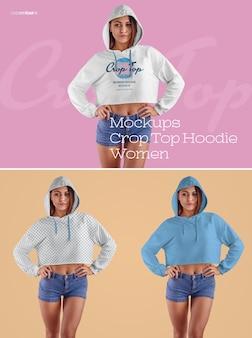 Frauen crop top hoodie mockups. das design ist einfach beim anpassen des bilddesigns (auf crop-top-hoodie, ärmeln, oberkörper, kapuze), färben aller elemente hoodie und heidekraut textur