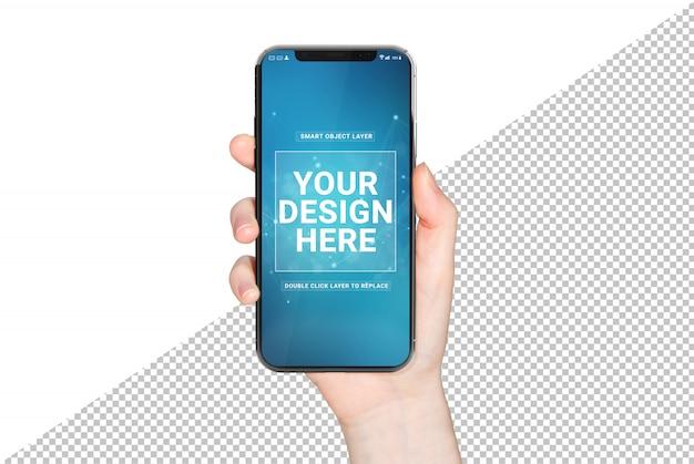 Frauenhand, die modernes smartphone-modell hält