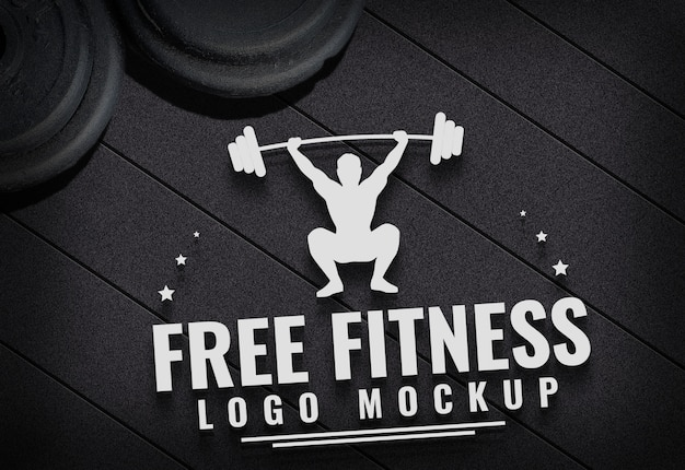Free fitness logo mock herauf turnhallen-teppichhintergrund