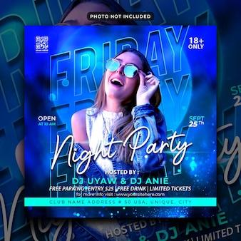 Freitag dj party flyer social media post