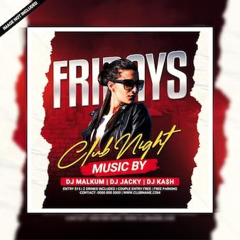 Freitags club night party flyer vorlage