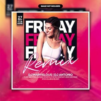 Freitags-remix-nacht-party-flyer