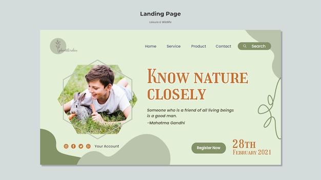 Freizeit- und wildtier-landingpage-vorlage