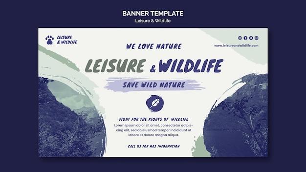 Freizeit- und wildtierbannerschablone Kostenlosen PSD