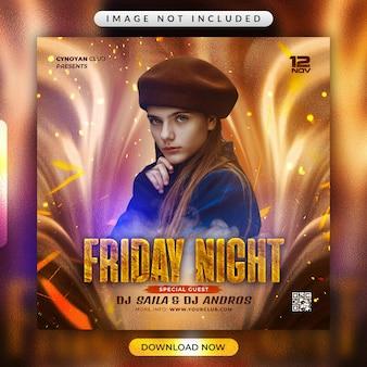 Friday night party flyer oder social media banner vorlage