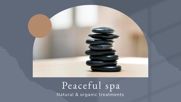 Friedliche spa-wellness-vorlage psd mit hot-stones-massage-hintergrund