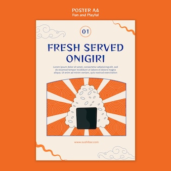 Frisch servierte onigiri-plakatschablone