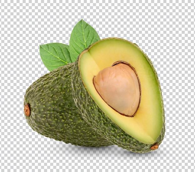Frische avocado mit blättern lokalisiertes design