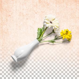 Frische blumen auf weißer vase isoliert